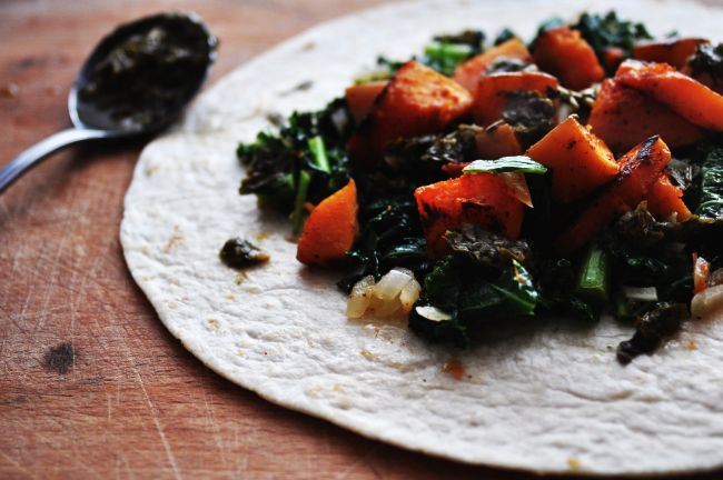 Sauteed kale and butternut squash with chimichurri sauce 1