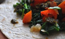 Sauteed kale and butternut squash with chimichurri sauce slider