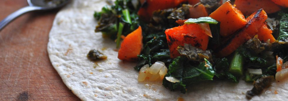 Butternut Squash & Kale Wraps with Chimichurri Sauce