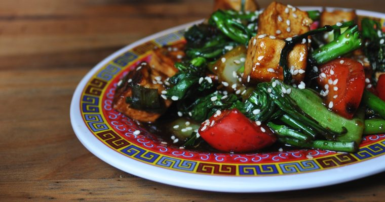 Tofu & Vegetable Stir Fry in Soy-Maple Sauce